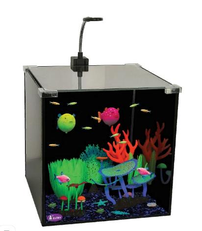 Глокси Аквариум Glow Set-27 с светильником, фильтром и грунтом, 27 л, 30*30*30 см, Gloxy