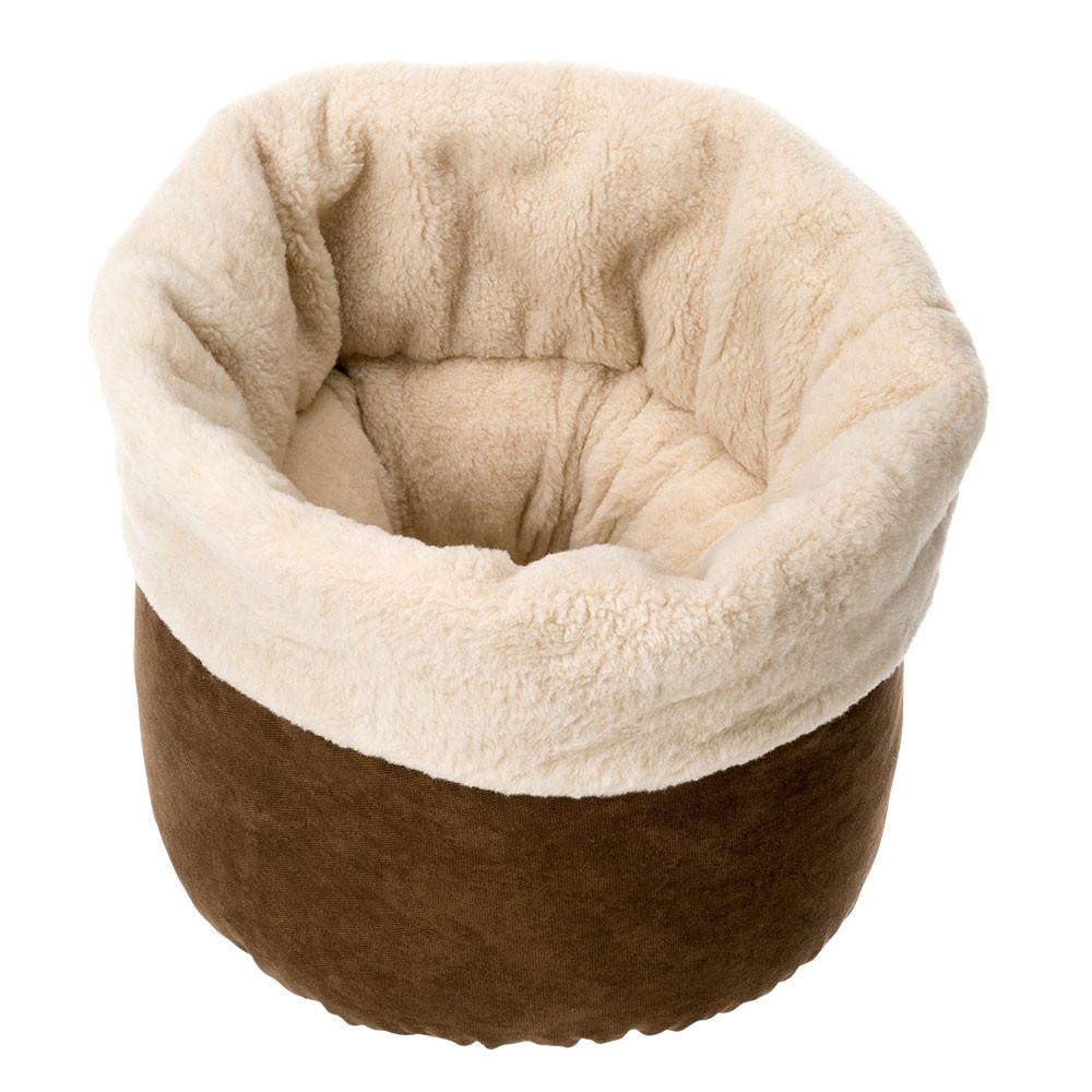 Ферпласт Лежак-корзина Pouf с мехом для кошек, 45*45*35 см, Ferplast