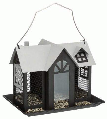 Трикси Кормушка Villa для птиц и грызунов уличная, 2 л, 26*19*19 см, металл, черный, Trixie