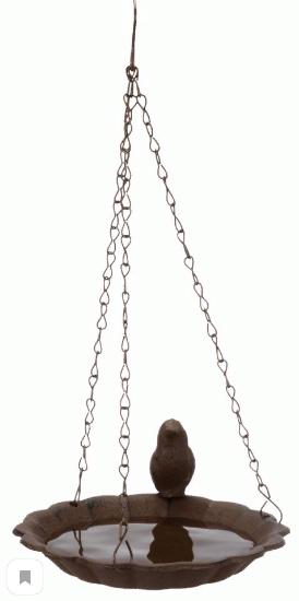 Трикси Миска-купалка для птиц и грызунов уличная на цепочке, 250 мл, диаметр 16 см, чугун, коричневая, Trixie