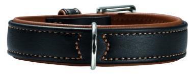 Хантер Ошейник для собак Canadian черно-коньячный, натуральная кожа лося, в ассортименте, ширина ошейника 36 мм, Hunter
