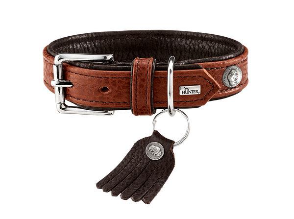 Хантер Ошейник для собак Cody коньячный-темно коричневый, натуральная кожа бизона, в ассортименте, Hunter