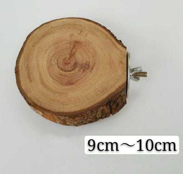 Деревянная круглая полочка для грызунов, винтовое металлическое крепление, 9-10 см