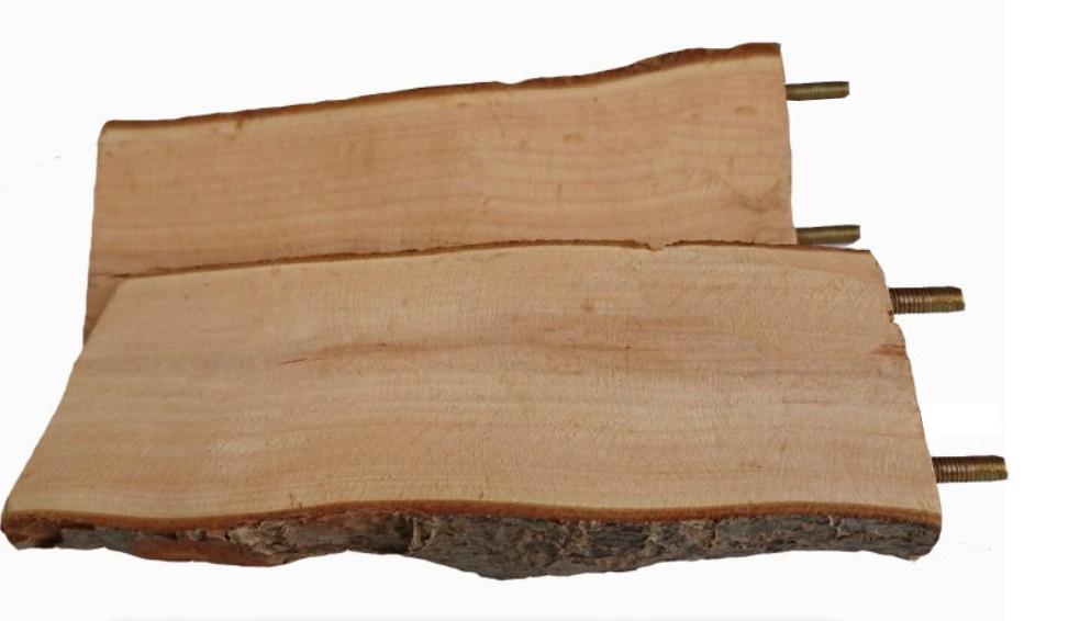 Деревянная полочка с корой для грызунов, винтовое металлическое крепление, 15*7 см