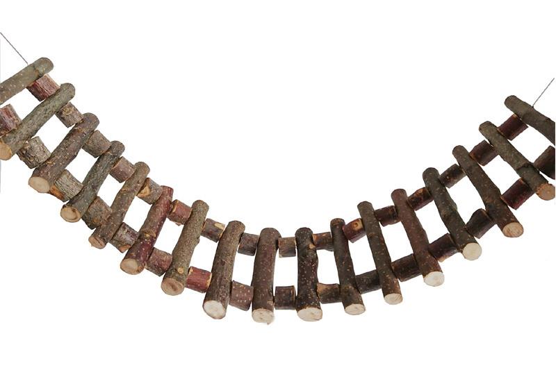 Подвесной деревянный мост из веточек и брусков, 37*10 см