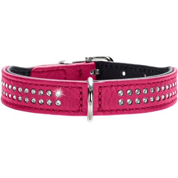 Хантер Ошейник для собак Diamond petit, розовый/черный, натуральная кожа, в ассортименте, ширина 2,6 см, Hunter
