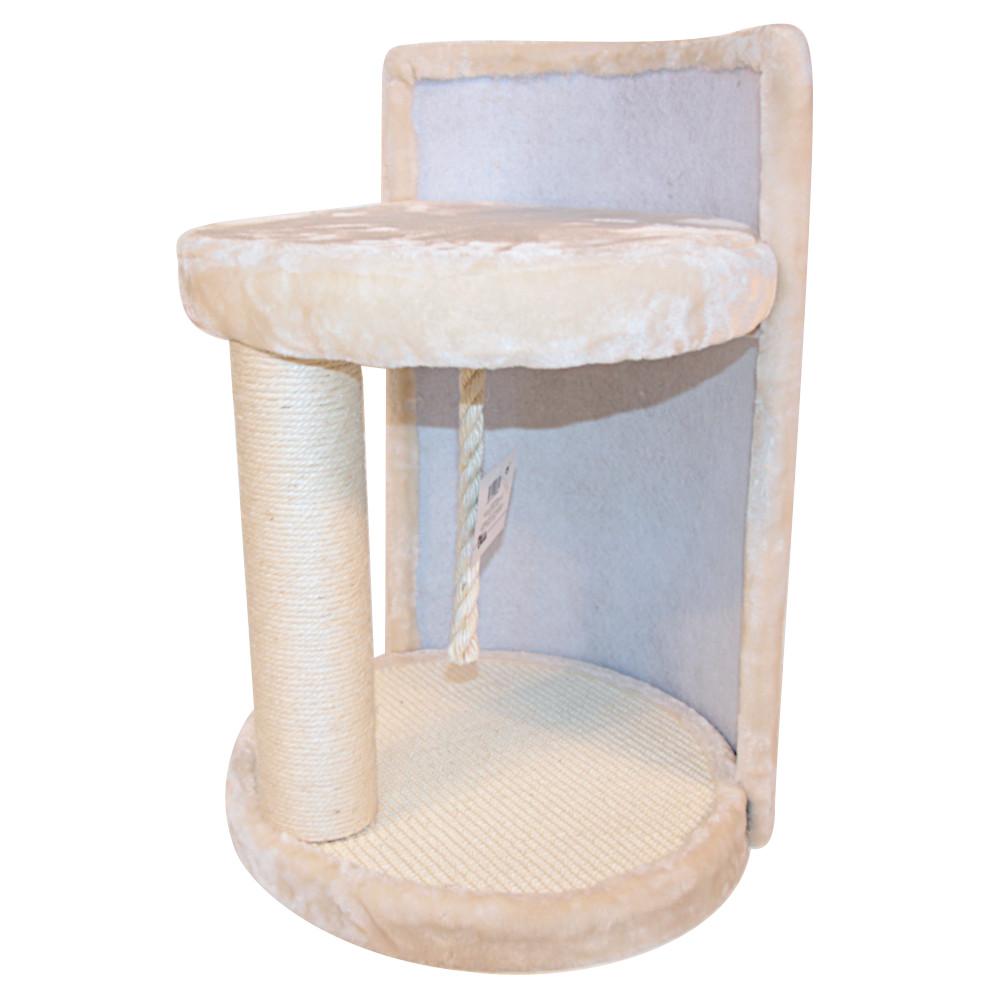 ПетЧойс Когтеточка-лежак PS260-1 с игрушкой, 40*40*50 см, кремовый, вес 7,5 кг, Pet Choice