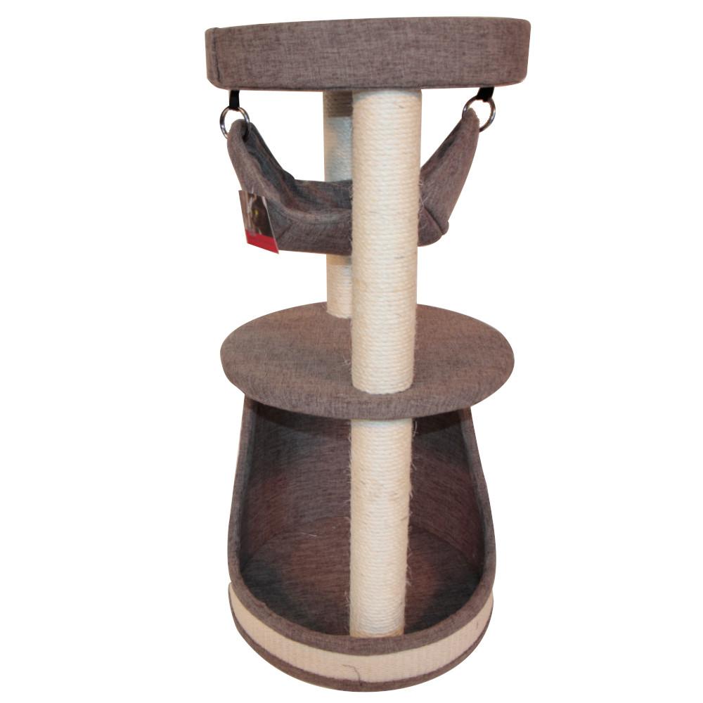 ПетЧойс Когтеточка-комплекс PS270 трехуровневый с гамаком, 40*40*90 см, вес 13 кг, Pet Choice
