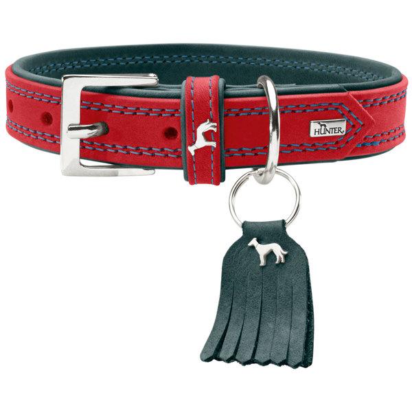 Хантер Ошейник для собак Lucca красный, натуральная кожа, обхват шеи 24-28 см, ширина 1,5 см, Hunter
