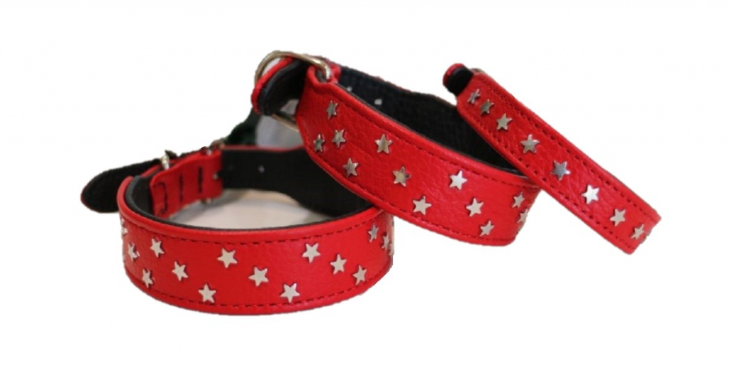 Хантер Ошейник для собак Capri Mini Stars красный/черный, натуральная кожа, в ассортименте, Hunter