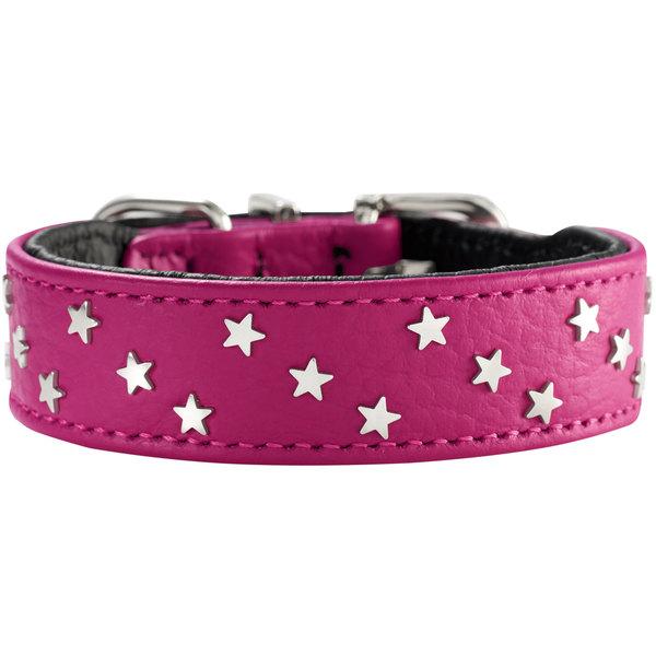 Хантер Ошейник для собак Capri Mini Stars малиновый/черный, натуральная кожа, обхват шеи 35-39,5 см, ширина 2,6 см, Hunter