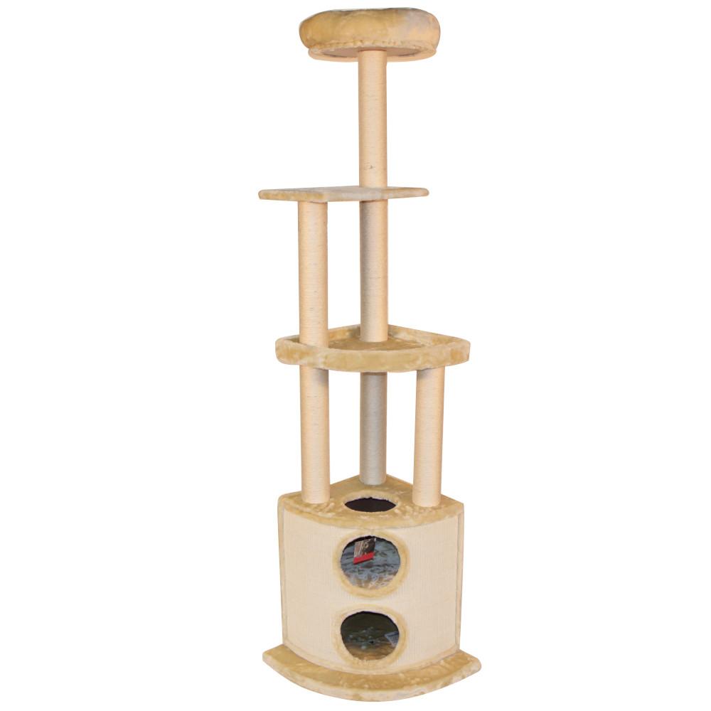 ПетЧойс Комплекс SBE1419 с двухуровневым нижним домиком для кошек, 45*45*197 см, вес 18,5 кг, Pet Choice