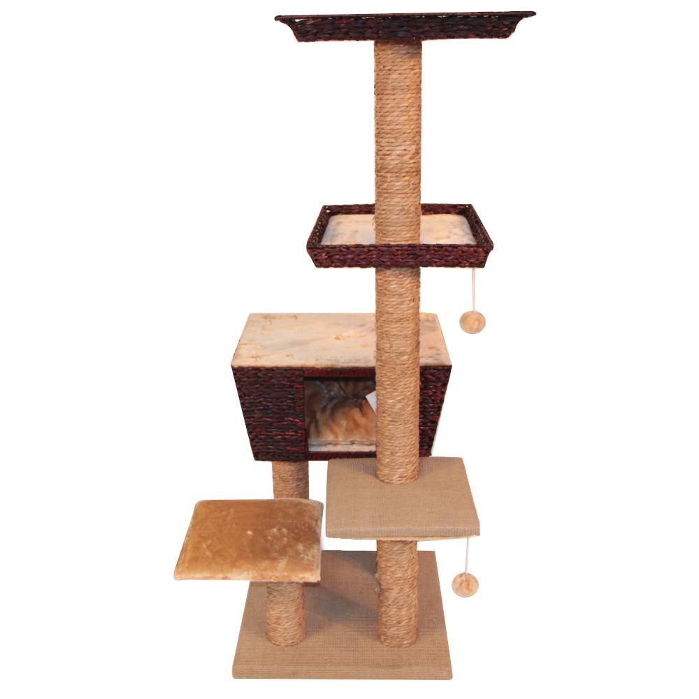 ПетЧойс Комплекс SBE911 для кошек с домиком и лежанками 48*48*141 см, вес 18 кг, бежевый, Pet Choice