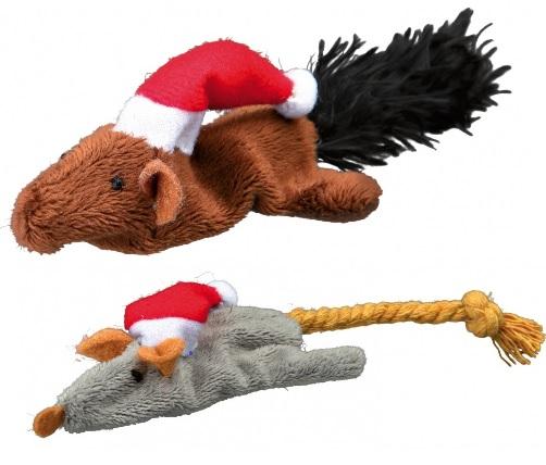 Трикси Рождественские игрушки для кошек Мышка и белочка, набор, 2 шт/уп., Trixie