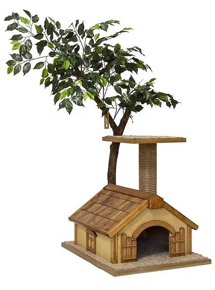 Дерево-когтеточка для кошек Paradise с домиком, 100*80*140 см, ствол яблоня, Россия