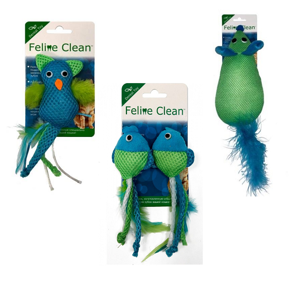 Фелин Клин Игрушка для кошек Dental, с перьями, в ассортименте, Feline Clean