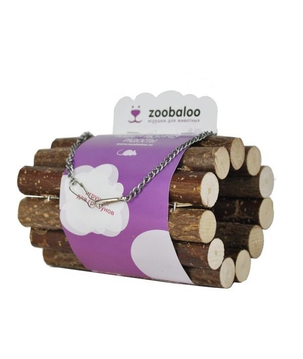 ЗооБалу Туннель для грызунов из палочек орешника, на цепочках, диаметр 8 см, длина 10 см, Zoobaloo