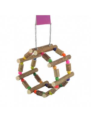 ЗооБалу Колесо Сфера для грызунов из палочек орешника и бусинок, на цепочках, диаметр 12 см, длина 11 см, Zoobaloo