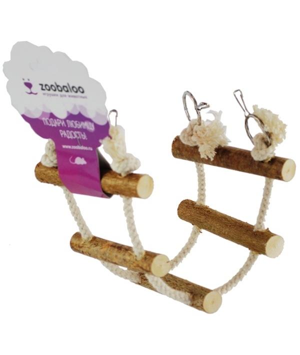 ЗооБалу Канатная лесенка для грызунов из палочек орешника и хлопка, длина 30 см, ширина 10 см, Zoobaloo