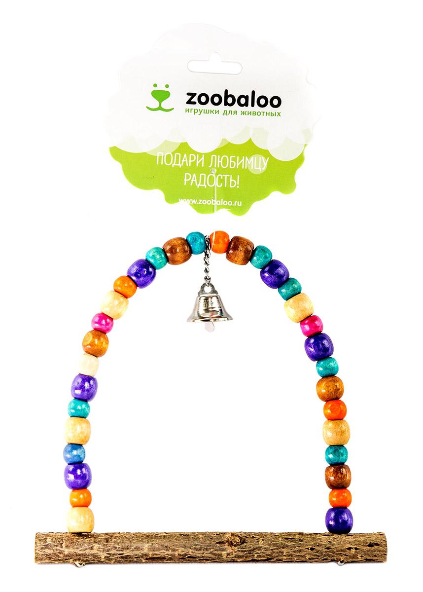 ЗооБалу Деревянные качели Африка с колокольчиком, 18*15 см, орешник, Zoobaloo