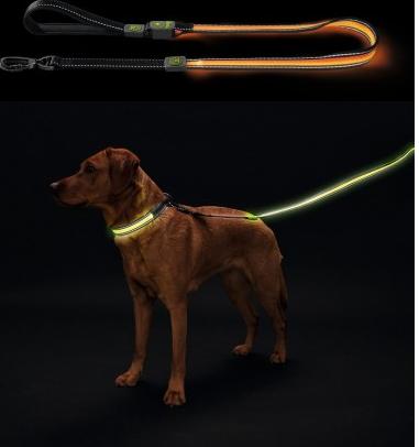 Хантер Поводок Manoa Glow для собак, светодиодный с USB зарядкой, длина 1,2 м, в ассортименте, Hunter