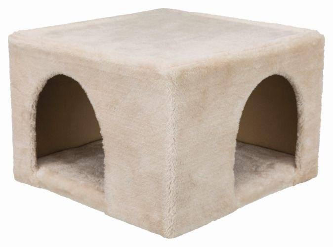 Трикси Домик плюшевый Cuddly Cave для кроликов и морских свинок, с двойным входом, 36*36*25 см, бежевый, Trixie