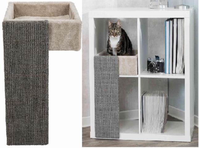Трикси Когтеточка с лежаком для кошек, 33*37*48 см, светло-серый, Trixie