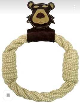 Анкур Игрушка Buffalo кольцо для собак Медведь, 27*20 см, хлопок/кожа буйвола, Ankur