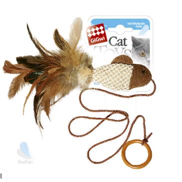 Гигви Игрушка для кошки Рыбка на резинке с кольцом, 50 см, Gigwi