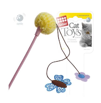 Гигви Удочка-дразнилка с погремушкой для кошек, 43см, GiGwi