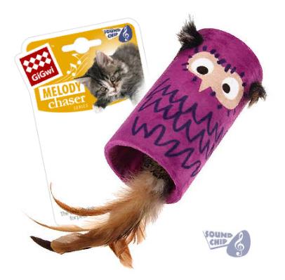 Гигви Дразнилка-цилиндр с чипом и пером, для кошек, 22*8,5 см, GiGwi