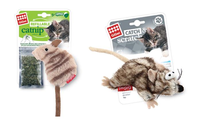 Гигви Игрушка Мышка для кошек с кошачьей мятой, искусственный мех/текстиль, в ассортименте, GiGwi
