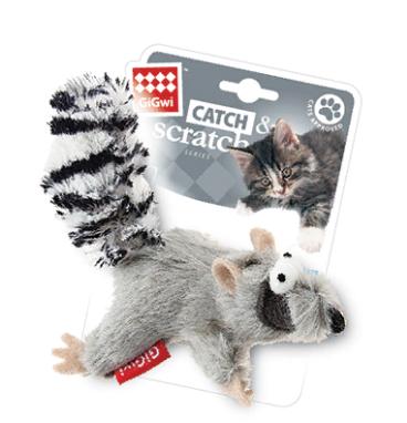 Гигви Игрушка Енот для кошек с кошачьей мятой, искусственный мех/текстиль, 8 cм, GiGwi