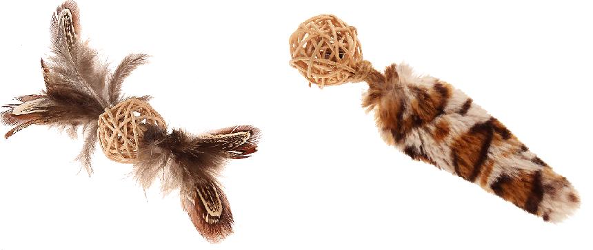 Гигви Мячик плетеный с колокольчиком, для кошек, искусственный мех/перо/лоза, 13 см, в ассортименте, GiGwi