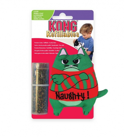 Конг Игрушка для кошек Коты, с тубом кошачьей мяты, 10 см, Kong