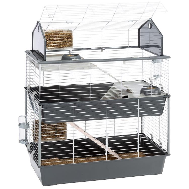 Ферпласт Клетка Barn 100 Double для кроликов и морских свинок, двухэтажная, 95*57*121 см, серая, Ferplast