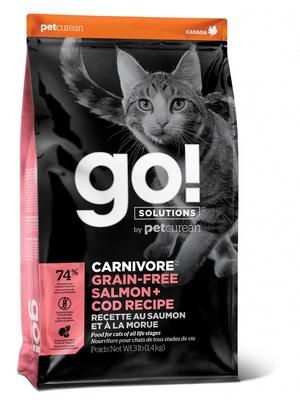 ГОУ Корм сухой беззерновой Natural Holistic Carnivore для котят и кошек, Лосось/Треска, в ассортименте, Go! Natural