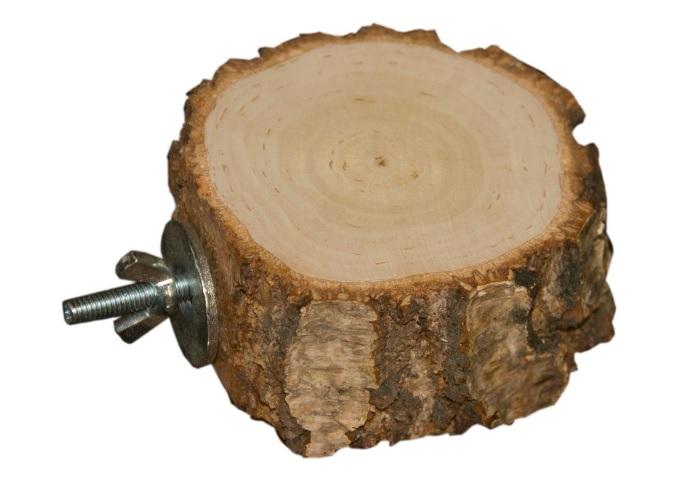 ПарротсЛаб Деревянная круглая полочка PL2061 для птиц и грызунов, винтовое металлическое крепление, диаметр 8-12 см, высота 3-4 см, ParrotsLab