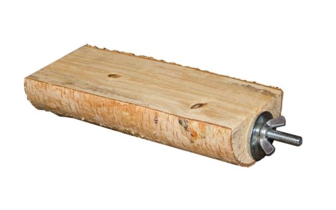 ПарротсЛаб Деревянная полочка PL2057 из полена для грызунов, винтовое металлическое крепление, длина 15 см, ширина 5-7 см, ParrotsLab