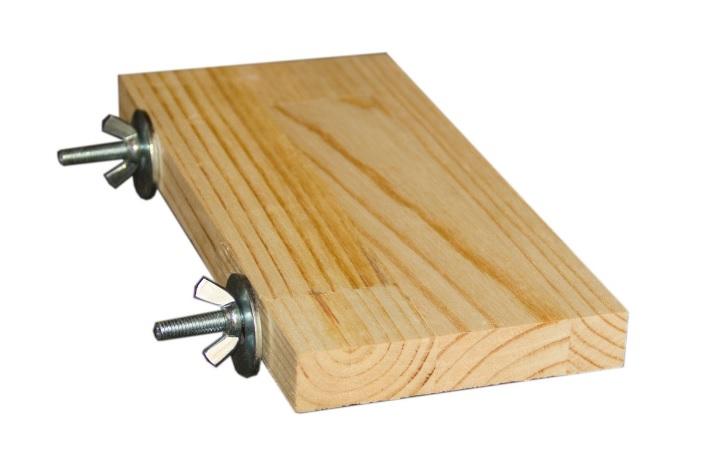 ПарротсЛаб Деревянная полочка PL2059 для грызунов, винтовое металлическое крепление, длина 20 см, ширина 9-10 см, ParrotsLab