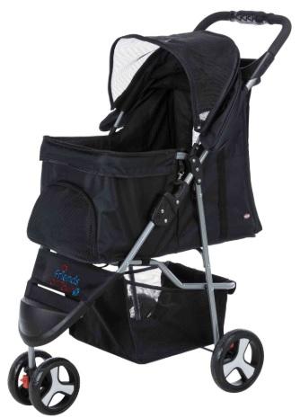 Трикси Коляска Buggy черная для собак и кошек, 47*80*100 см, 3 колеса, вес животного до 11 кг, Trixie