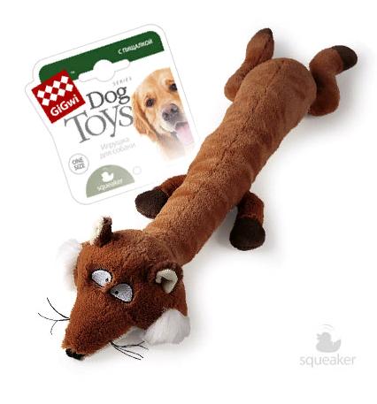 Гигви Игрушка Лиса с большой и малой пищалками для собак, 63 см, GiGwi