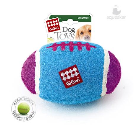 Гигви Мяч с пищалкой для собак, теннисная резина, 17 см, Gigwi