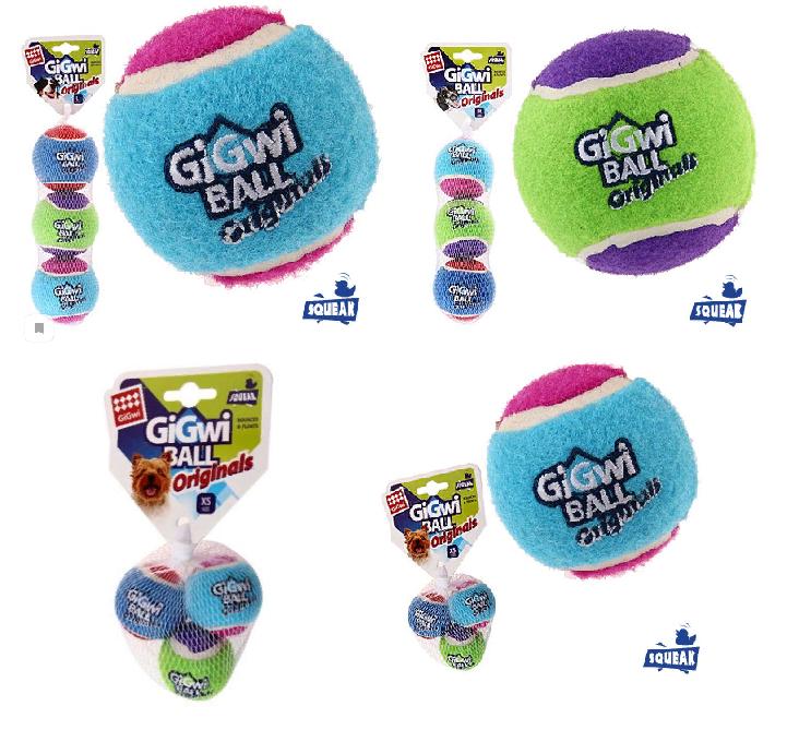 Гигви Мяч Ball Originals с пищалкой для собак, в ассортименте, 3 шт/уп., фетровая резина, Gigwi