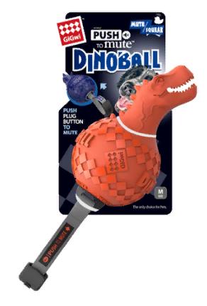 Гигви Игрушка Dinoball с отключаемой пищалкой для собак, в ассортименте, 13 см, резина, Gigwi