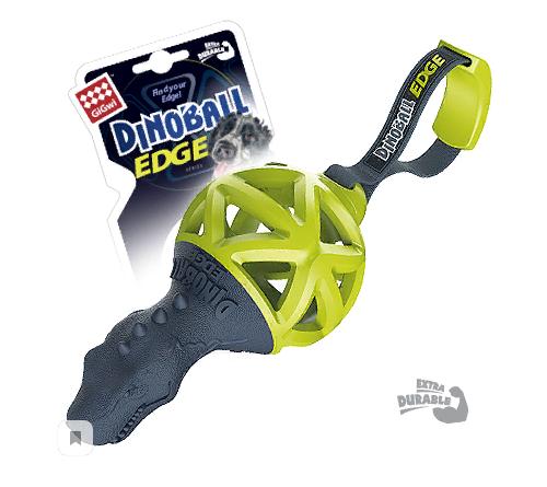Гигви Игрушка Dinoball Т-рекс с ручкой для перетягивания, для собак, 15/28 см, резина, Gigwi