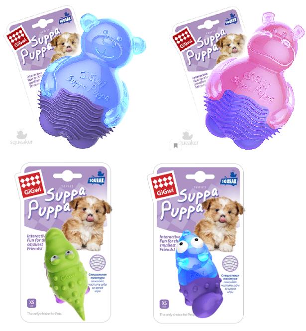 Гигви Игрушка Suppa Puppa с пищалкой для собак, в ассортименте, резина, Gigwi