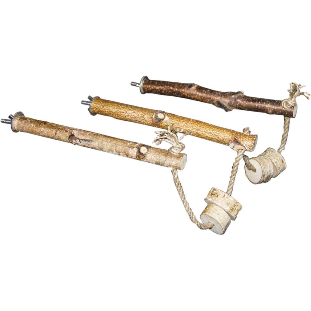 ПарротсЛаб Жердочки PL2066 соединенные веревкой, с корой, с винтовым металлическим креплением, ParrotsLab