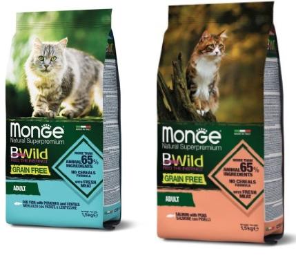 МОНЖЕ Корм беззерновой Cat BWild GRAIN FREE для кошек, в ассортименте, 1,5 кг, Monge