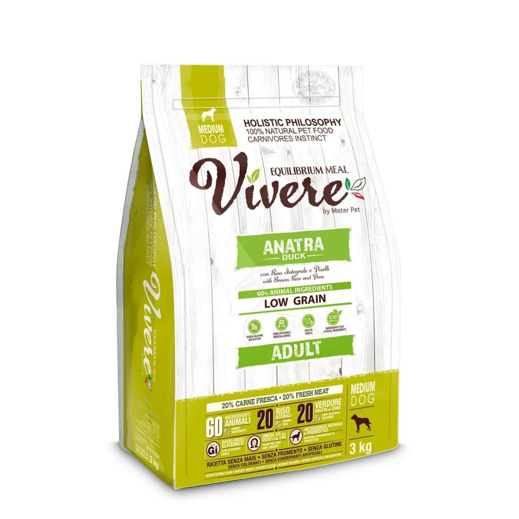 БОНУС Вивере Корм сухой для собак средних пород, Утка, в ассортименте, Vivere